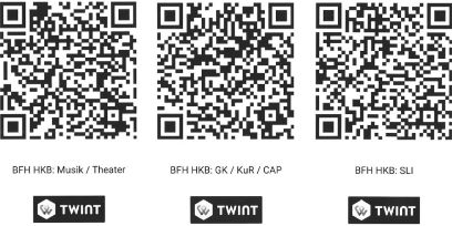 QR codes for payments into the HKB scholarship fund with TWING